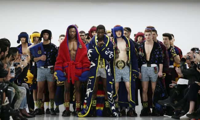 Models on the catwalk during the SIBLING London Collections Men AW2016 show at BFC Show Space, Victoria House, London.