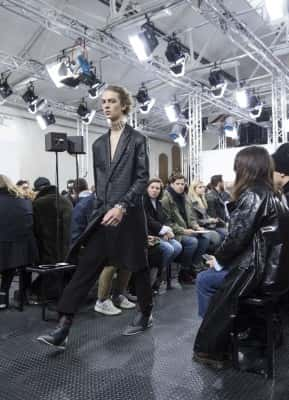 A model on the catwalk during the J.W. Anderson London Collections Men AW2016 show at Yeomanry House, London.