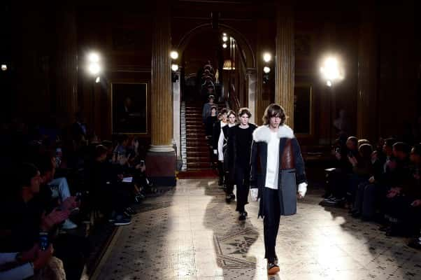 Models on the catwalk during the Pringle of Scotland London Collections Men AW2016 show at the Reform Club, London.