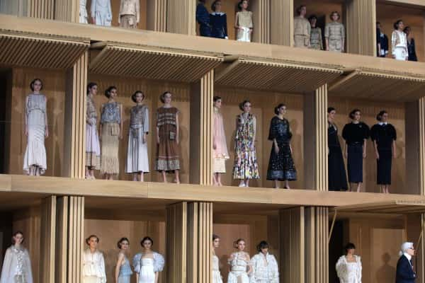 Models pose during Chanel's Spring-Summer 2016 Haute Couture fashion collection presented in Paris, Tuesday, Jan.26, 2016. (AP Photo/Thibault Camus)