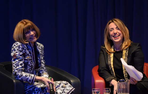Editor-in-Chief of American Vogue Anna Wintour (left) takes part in a question and answer session with Editor-in-Chief of the Guardian, Kath Viner, during the Northern Youth Fashion Show at the University of York.