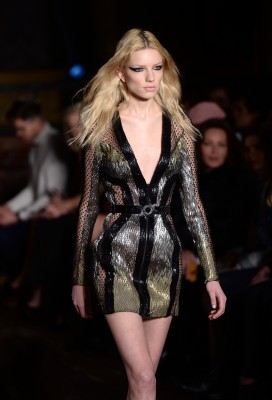 A model at the Julien Macdonald Catwalk Show, No1 Mayfair, part of London Fashion Week AW2016. Photo Credit should read Doug Peters EMPICS Entertainment