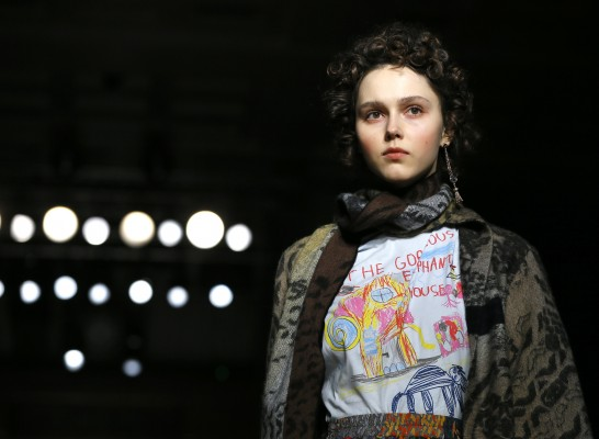 A model displays a design during the Vivienne Westwood Autumn/Winter show at London Fashion Week, Sunday, Feb. 21, 2016. (AP Photo/Kirsty Wigglesworth)