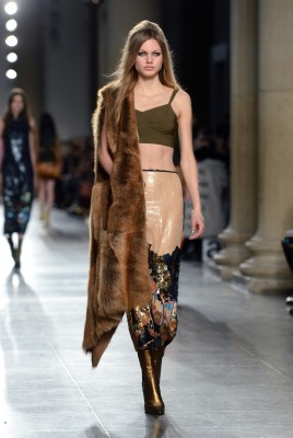 A model at The Topshop Unique show, Tate Britain, part of London Fashion Week AW2016. Photo Credit should read Doug Peters EMPICS Entertainment