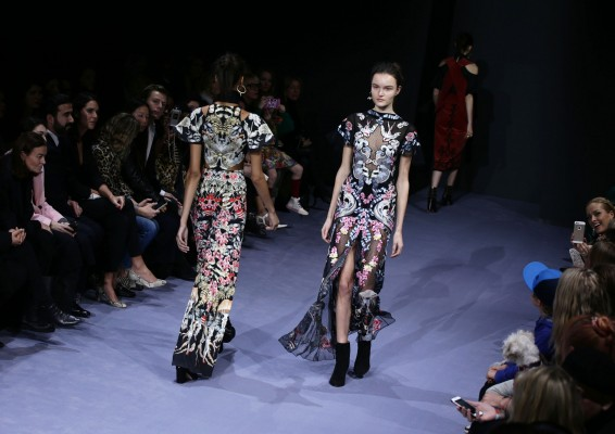 Models on the catwalk during the Temperley Autumn/ Winter 2016 London Fashion Week show at Lindley Hall in Vincent Square, London.