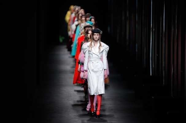 Models wear creations for Gucci women's Fall-Winter 2016-2017 collection, part of the Milan Fashion Week, unveiled in Milan, Italy, Wednesday, Feb. 24, 2016. (AP Photo/Luca Bruno)