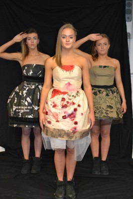 Anna Stevens collection of three dresses was named War