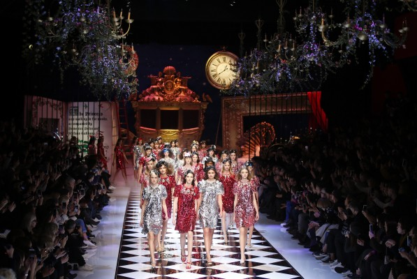 Models wear creations part of the Dolce & Gabbana women's Fall-Winter 2016-2017 collection, that was presented in Milan, Italy, Sunday, Feb. 28, 2016. (AP Photo/Luca Bruno). (AP Photo/Luca Bruno)