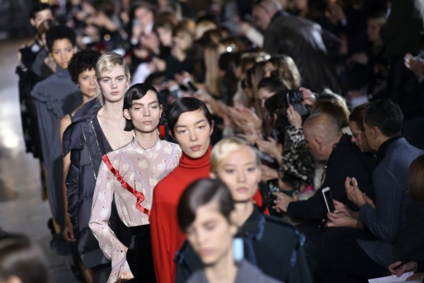 Models wear creations for Stella McCartney's Fall-Winter 2016-2017 ready to wear fashion collection presented Monday, March 7, 2016 in Paris. (AP Photo/Zacharie Scheurer)
