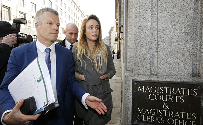 Reality TV star Charlotte Crosby and solicitor Nick Freeman arriving at Newcastle Magistrates' Court where she is charged with drink-driving.
