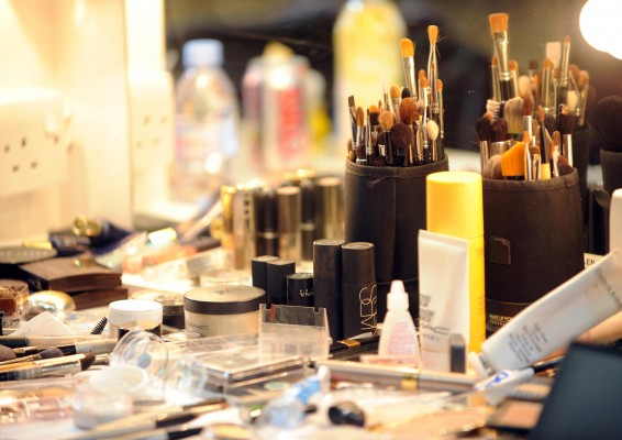 Make up backstage at the Julien MacDonald catwalk show during the 25th London Fashion Week.