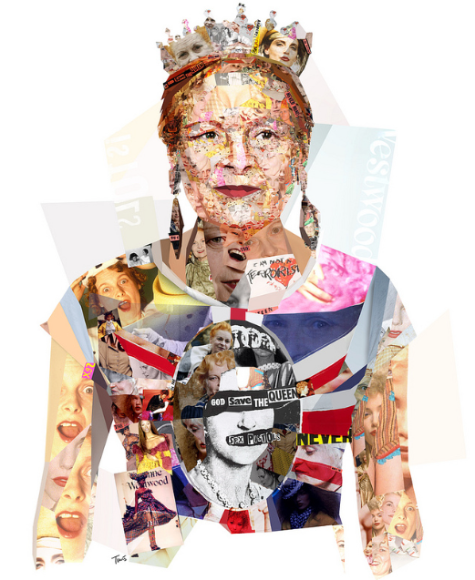 Image C/O: Charis Tsevis Flickr Collage portrait of fashion designer Vivienne Westwood for Harper's Bazaar magazine