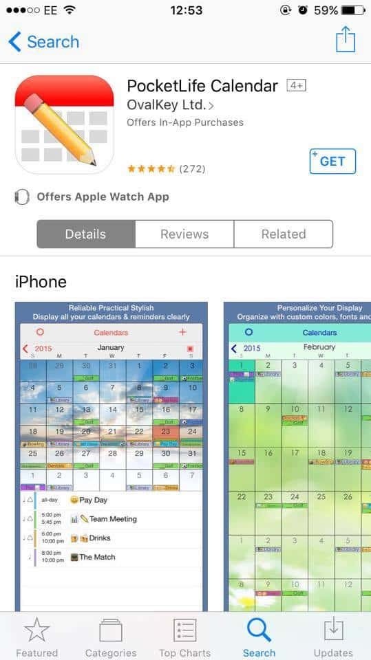 Pocketlife Calendar - available for free on the App Store