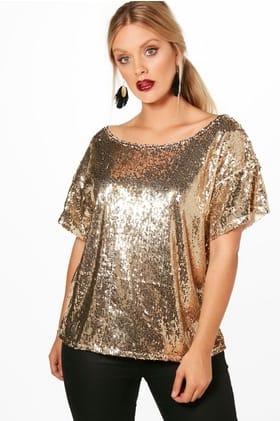 BOOHOO PLUS SEQUIN TOP