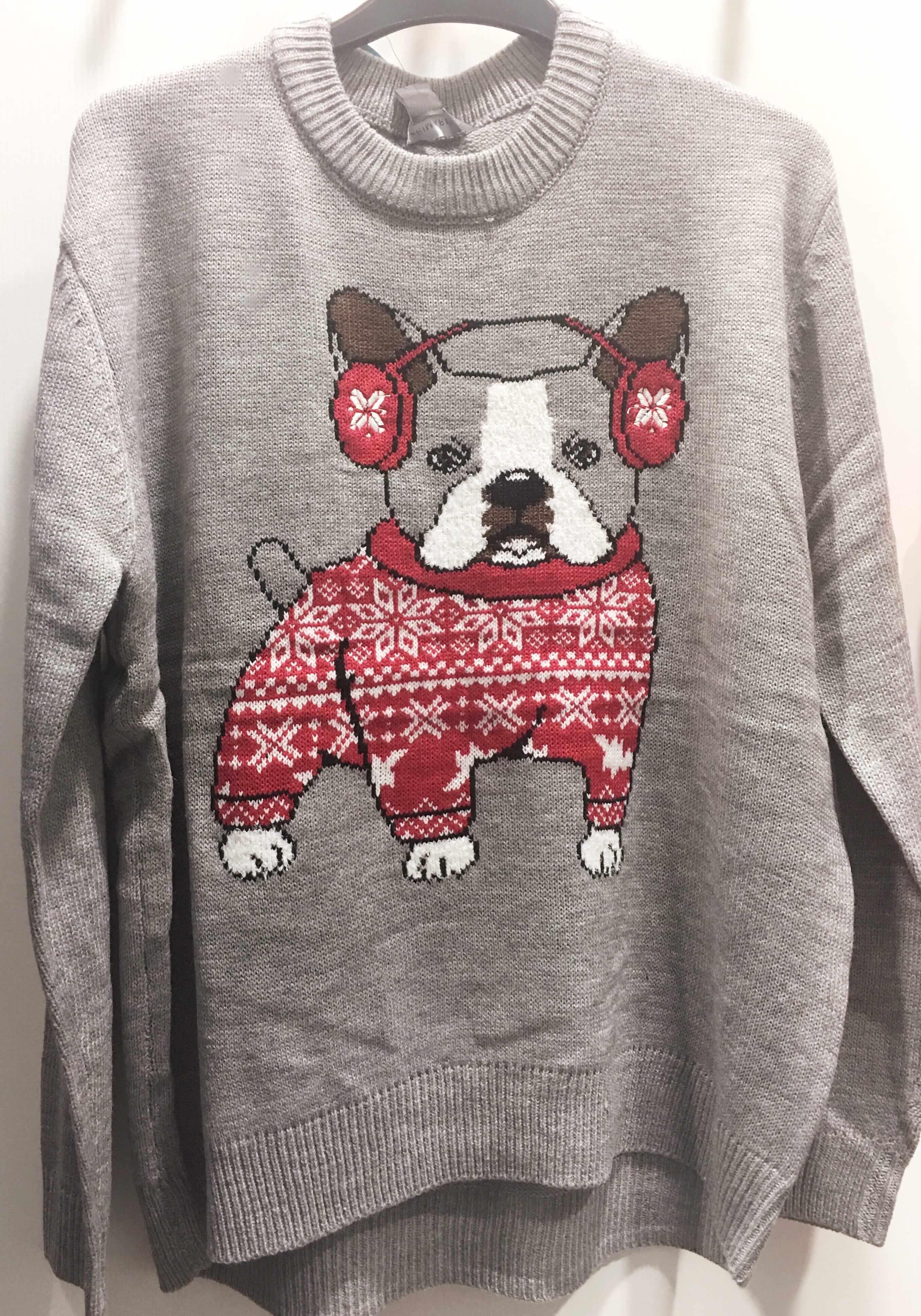 French Bulldog Christmas Jumper.Christmas Jumper Inspiration For 2018 From The Bridges